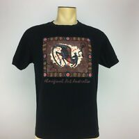 Australia Mens Short Sleeve Aboriginal Art Australia Graphic Tee Sz L Black