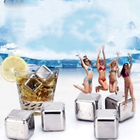 4 Pcs Stainless Steel Ice Cube Cubes Glacier Rocks Whisky Whiskey Stones - Boxed
