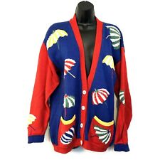 Womens S Red Blue Cardigan Sweater Beach Umbrella Novelty Vintage South Cotton