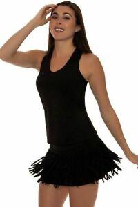Rare EUC Lucky In Love Fringe black tennis Skirt Skort Size SMALL