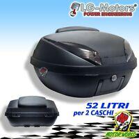 Casque LG-MOTORS Coffre 52 Litres Noir Carbone + Plaque Dos Mains