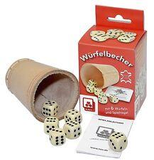 Würfelbecher aus Leder Knobelbecher Lederbecher + 6 Würfel Neu+OVP !
