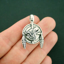 2 Wolf Pendant Charms Antique Silver Tone With Feathers and Large Loop - SC7137