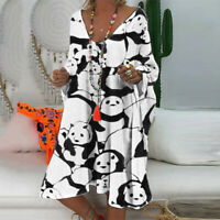 Women Casual Long Sleeve Panda Printed V-Neck Loose Kaftan Knee-Length Dress