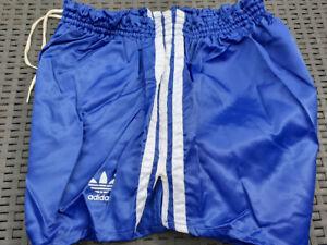 80er ADIDAS Glanz NYLON vintage Glanz shiny Shorts D7 (L) bl/we West Germany