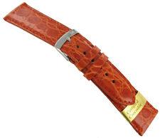 16mm Morellato Genuine Crocodile Orange Padded Stitched Men Watch Band Strap 855