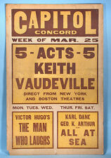 1929 Original Keith Vaudeville Universal Horror Movie Poster The Man Who Laughs
