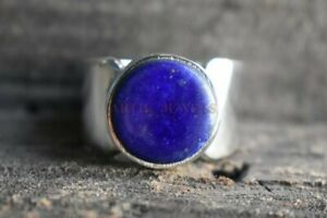 Natural Lapis Lazuli Gemstone with 925 Sterling Silver Ring for Men's #995