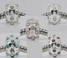 20 Mixed Silver Plated Bumpy Rhinestone Spacer Beads. Fit Charm Bracelet 10x7mm