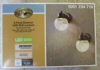 2-Pack HAMPTON BAY Exterior LED Wall Lantern Lights Black Finish New In Box