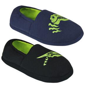 Boys Glow in the Dark Dinosaur Slippers 9-10 11-12 13-1 2-3 Shoe sze lovely gift