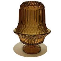 "Vintage Indiana Glass Diamond Point Amber Yellow Fairy Lamp 6.5"" Mint Boho Chic"