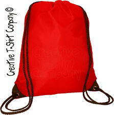 Red Drawstring Backpack Tote Bag Great for Crafts PE Swim Gym Sac School