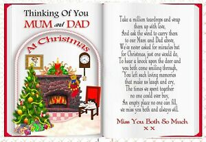 MUM AND DAD CHRISTMAS MEMORIAL REMEMBERANCE KEEPSAKE GRAVESIDE CARD & HOLDER 3