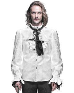 Devil Fashion Mens Gothic Shirt Top White Steampunk Regency Aristocrat + Cravat