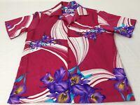 Hilo Hattie Coral Pink Tropical Flowers Mens Large Hawaiian Shirt EUC
