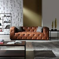 Modern Leather Sofa Mid Century Tufted Lounge Couch Chesterfield | Antique Look
