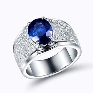 Vintage Jewelry Solid 18K White Gold Natural Diamond Sapphire Gemstone men Ring