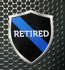 """Thin Blue Line RETIRED Police Shield Proud Domed Decal Emblem Sticker 3D 2.3x 3"""""""