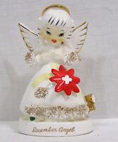 """Vintage NAPCO Christmas December Angel Flower on Dress Looking Down 4 1/2"""" Japan"""