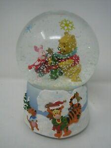 Winnie the Pooh Piglet Christmas Jingle Bells Glass Snowglobe Disney eeyore