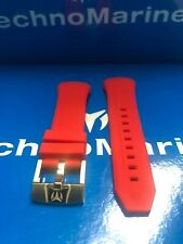 TechnoMarine Red Silicone Strap with Gold Buckle 45mm Button System Very Rare