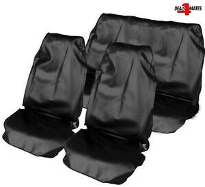 Black Heavy Duty Waterproof Full Set Car Seat Covers Protectors Universal Dog
