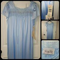 Vintage Vanity Fair Glisanda Blue Satin Tricot Nightgown Dress Sleepwear Large