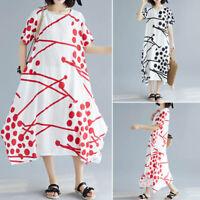 Women's Short Sleeve T-Shirt Dress Polka Dot Stripe Long Shirt Dress Sundress
