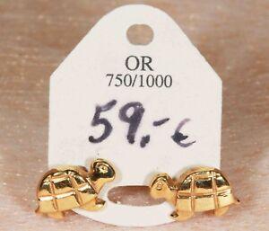 Boucles d'Oreilles Enfant en Or 750 / 18 Ct tortue 040101