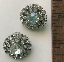Cluster Clip-on Earrings Rhinestone Silver Tone Large