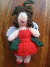 HOLLY A HAND KNITTED FUNKY XMAS FAIRY TREE  DECORATIONS. 5 INCHES TALL.