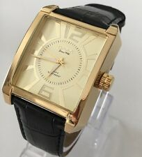 Men's Wrist Watch Gold Black Leather Strap Swiss Omax Classic Smart Business New