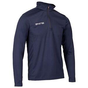 Skins 1/4 Zip Long Sleeve Tech Top - Mens - Navy- Gym Rugby Clothing. Zip up