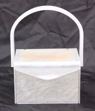 Vintage Wilardy White Gold Lucite Box Purse Evening Hand Bag with Compact