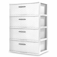 4 Drawer Wide Weave Tower Durable Plastic Indoor Home Storage Organizer White