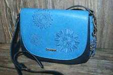 Desigual Crossbody Bag Blue Embroidered Design on Front  (S-990
