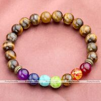 """1X Tiger's Eye 7 Chakra Gemstone Bead Healing Prayer Bracelet Stretchy 6""""L Gift"""
