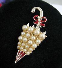 Faux Pearl UMBRELLA  BROOCH Vintage PIN Red Enamel Goldtone Broach Jewelry