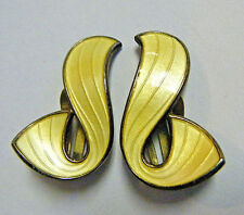 "1950s IVAR HOLT VTG MODERNIST NORWAY STERLING YELLOW GUILLOCHE ENAMEL 1""EARRINGS"