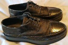 F Troupe Oxford Shoes Black Leather Pony Hair Platform Shoes Sz 41 US Sz 9.5