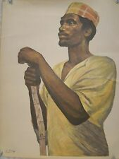 """African Man Color African American Art Print Kush Bey 1960's 18"""" X 23"""" Vintage"""
