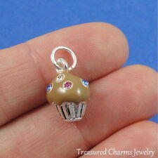 Silver and Enameled CHOCOLATE CUPCAKE CHARM with CZ Crystal SPRINKLES *NEW*