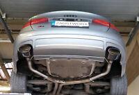 Audi S4 3.0 V6T (B8) Rear silencer delete pipes - 6x4 RS Style Black Chrome tips
