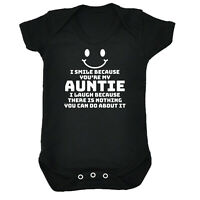 Funny Baby Infants Babygrow Romper Jumpsuit - I Smile Because Youre My Auntie