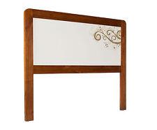 Cabecero de cama doble en madera maciza colores blanco y marrón serie Barcelona