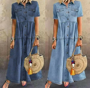 UK Summer Womens Denim Long Maxi Dress Ladies short sleeve Loose Jeans Sundress