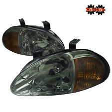 For Honda Del Sol 93-97 Smoked Lens Chrome Headlights w/ Amber Reflector Tinted