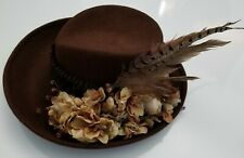 Vintage Perfectly Patricia Underwood Embellished Brown Hat with Feathers