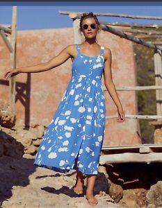 Mister Zimi Xanadu Ruby Blue White Floral Print Midi Dress. Size 14